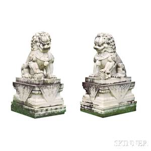 Pair of White Marble Foo Lions