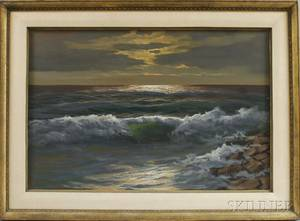 Framed Oil on Canvas Seascape