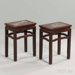 Pair of Marbletop Hardwood Stands