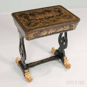 Chinese Export Giltdecorated Lacquered Sewing Stand