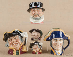 Five Royal Doulton toby mugs