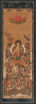 Buddhist Painting Depicting Sakyamuni Triad