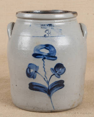 Pennsylvania stoneware crock 19th c