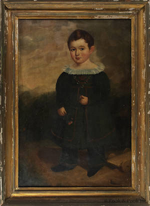 Oil on canvas folk portrait of a boy with a pull toy ca 1840