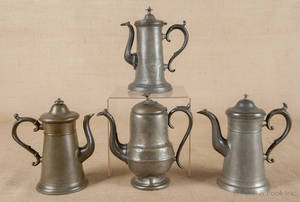 Four American pewter coffee pots 19th c
