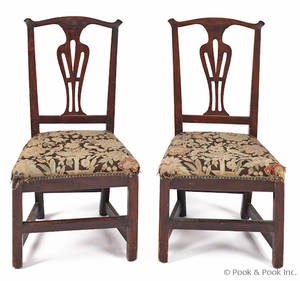 Pair of New England Chippendale mixed woods dining chairs