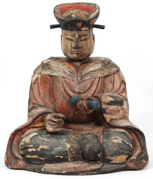 CHINESE CARVED WOOD POLYCHROME SCHOLAR FIGURE