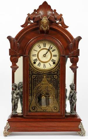 ANSONIA CLOCK CO WALNUT MANTEL CLOCK LATE 19TH C