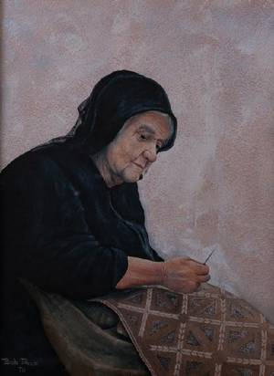 Bob Price Mixed Media of a Woman Embroidering