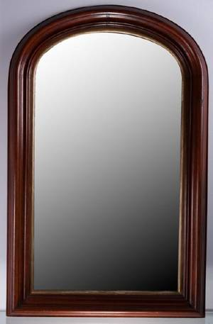 Mahogany Framed Arched Top Mirror