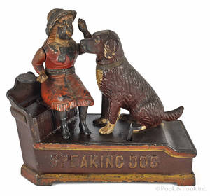 Cast iron  Speaking Dog  mechanical bank manufactured by Shepard Hardware Co