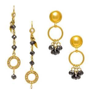 A Pair of 24 Karat Yellow Gold and Black Diamond Earrings Gurhan