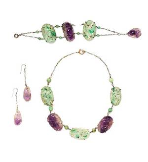 A Jade and Amethyst Demi Parure