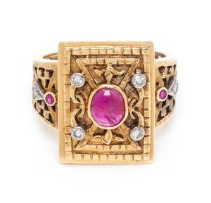 A Yellow Gold Ruby and Diamond Ring