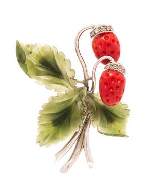 A 14 Karat White Gold Coral Nephrite Jade and Diamond Strawberry Motif Brooch