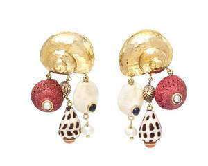 A Pair of Yellow Gold Shell Cultured Pearl Coral and Sapphire Earclips MAZ