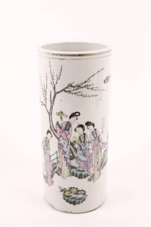 Oriental Porcelain Cylindrical Table Vase