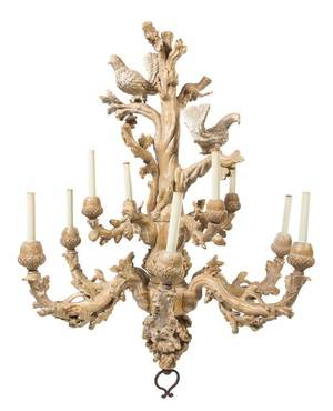 An Italian Carved Wood Chandelier