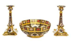 A Royal Crown Derby Imari Garniture