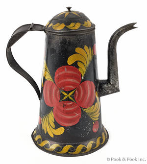 Asphaltam tole decorated tin coffee pot early 19th c