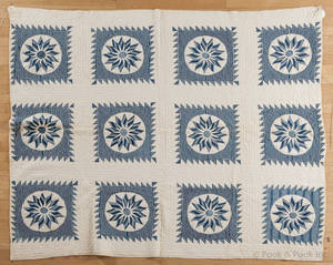 Pennsylvania Mariners Compass pieced quilt late 19th c