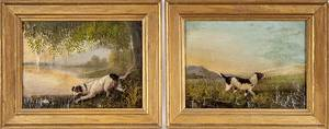 Two oil on canvas portraits of hunting dogs ca 1870