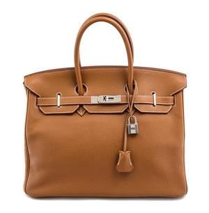 An Hermes Gold Togo 35cm Birkin Handbag