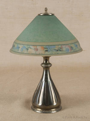 Pairpoint brass table lamp with reverse painted shade