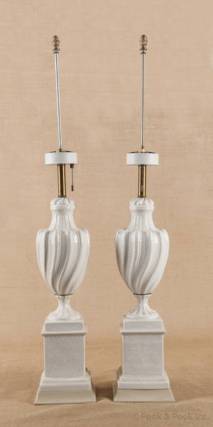 Pair of enamel decorated porcelain table lamps