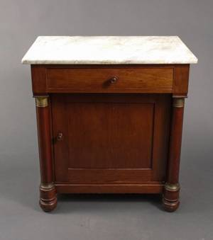 Empire Style Mahogany Wash Stand w Marble Top