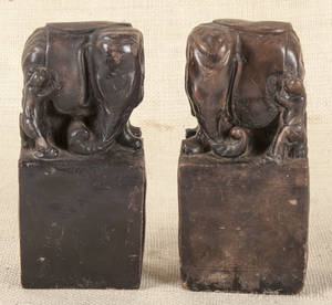 Pair of Chinese pottery elephants