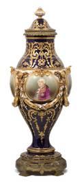 A Sevres Porcelain Gilt Bronze and Cobalt Mounted Covered Urn