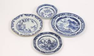 Group of 4 Unmatched Chinese Blue  White Pieces