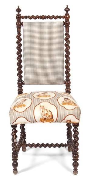 A Jacobean Style Oak Grain Painted Side Chair