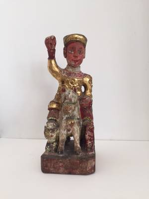 A Chinese Parcel Gilt and Polychrome Decorated Figure