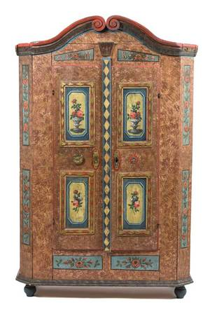 A Continental Painted Pine Armoire