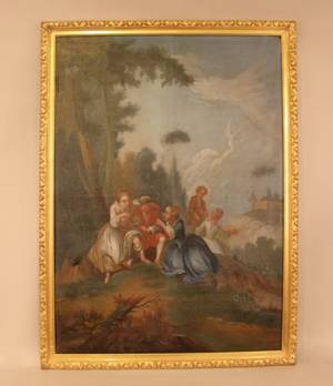 19th C French Oil on Canvas