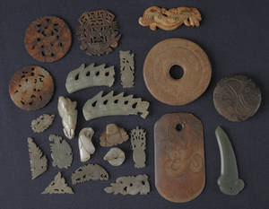 Group of Chinese jade and hardstone disks