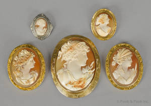 Five 10K yellow and white gold cameo brooches