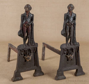 Pair of cast iron andirons late 19th c