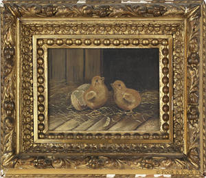 American oil on canvas of two chicks