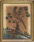 Folk art watercolor of a pheasant
