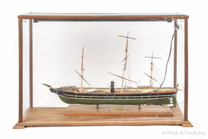 Carved and painted ship model of the  USS Kearsarge
