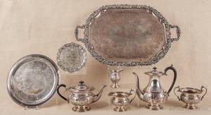 Fivepiece silver plate tea service
