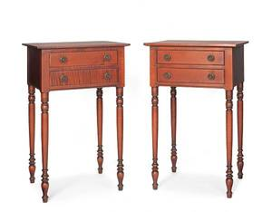 Pair of Eldred Wheeler Sheraton style curly maple twodrawer stands