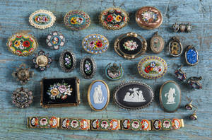 Group of mosaic and Wedgwood type brooches