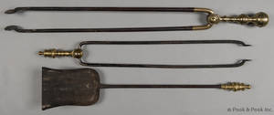 Two Federal brass and iron fire tongs