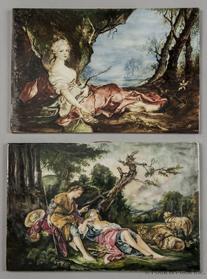 Two Italian porcelain plaques decorated with romantic scenes