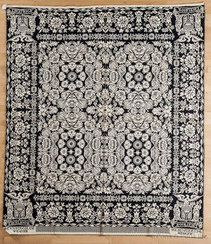 New York blue and white jacquard coverlet ca 1840