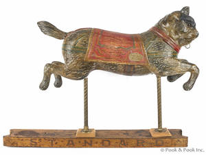French carved and painted cat carousel figure early 20th c